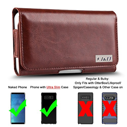 J&D Holster Compatible for Galaxy Note 8 / Galaxy Note 9 Holster with Belt Clip, PU Leather Holster Pouch and ID Wallet Case for Samsung Galaxy Note 8 Case (for Naked Phone or J&D TPU Slim Case On)