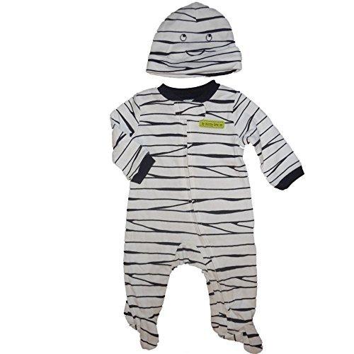 Just One Year 2-piece Mummy Knit Cap and Sleeper (3 (Blue Carter Halloween)