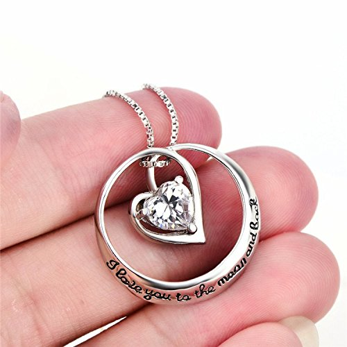 YFN I Love You to the Moon and Back 925 Sterling Silver Open Heart Love Necklace 18'' by YFN (Image #2)
