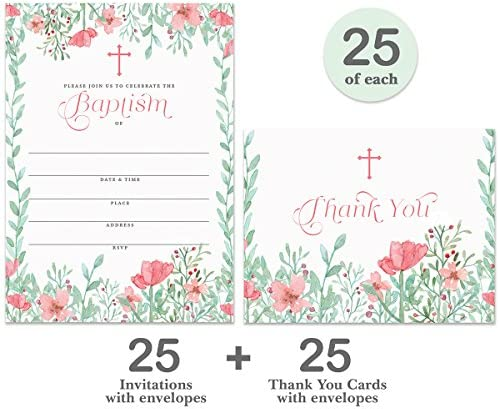 Baptism Invitations 25 Matching Thank You Notes 25 Set Envelopes Included, Pretty Pink Infant Baby Girl 5 x 7 Fill-in Invites Folded Thank You Cards, Naming Christening Great Value Pair