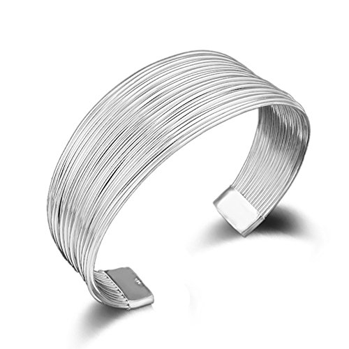 Silver Cuff Bracelet Bangle (SUNGULF Popular Jewelry Silver Plated Mesh Cuff Bracelets Open End Bangle Bracelets For Women (Multi-line 25mm width))
