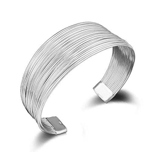 Silver Cuff Bracelet Bangle (SUNGULF Popular Jewelry SilverPlated Mesh Cuff Bracelets Open End Bangle Bracelets For Women (Multi-line 25mm width))