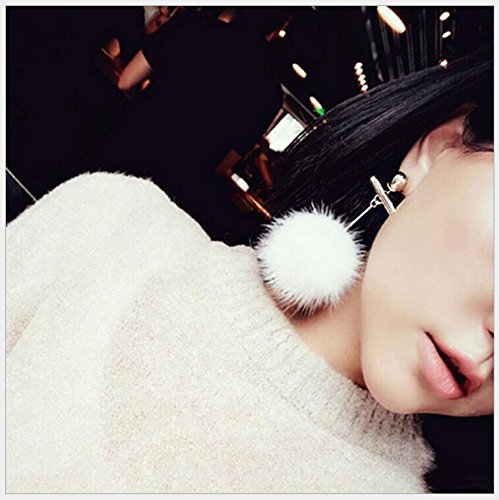 usongs models tassel earrings word length mink fur ball earrings earrings ear jewelry women girls -