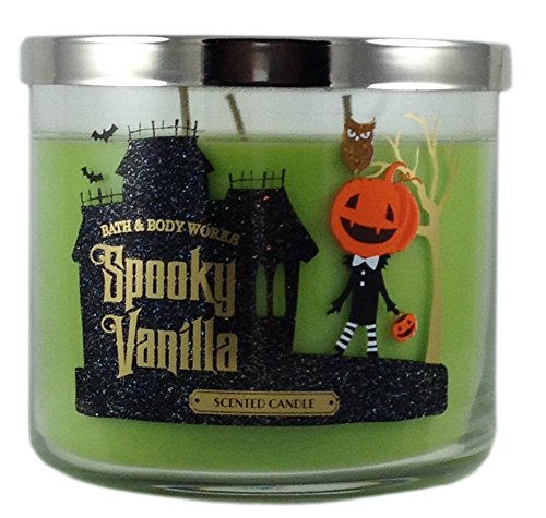 Bath & Body Works Spooky Vanilla Scented Candle 3 Wick 14.5 Oz Halloween Limited Edition 2015 -