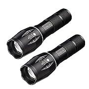 #LightningDeal 73% claimed: RockBirds T6 LED Flashlights, IPX4 Water Resistant, Adjustable Focus Light with 5 Modes