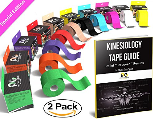 pink-kinesiology-tape-pro-2-x-165-2-pack-by-physix-gear-sport-best-waterproof-muscle-support-adhesiv