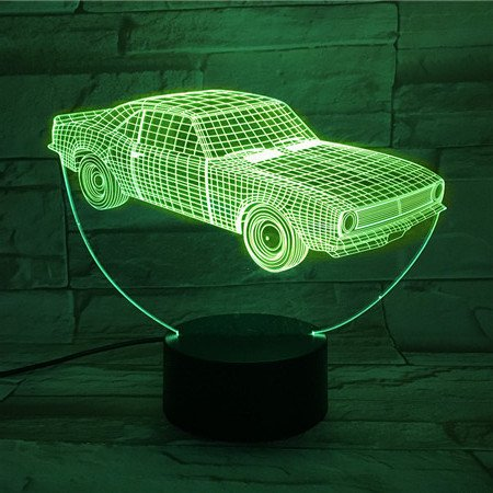 LE3D 3D Optical Illusion Desk Lamp/3D Optical Illusion Night Light, 7 Color LED 3D Lamp, Muscle Car 3D LED For Kids and Adults, Muscle Car Light Up