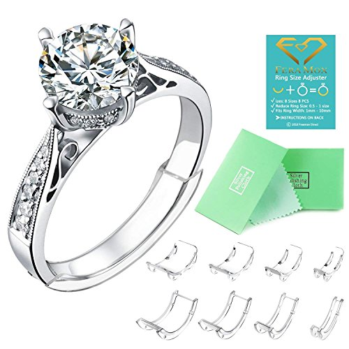 Gold Invisible Set Ring - Invisible Ring Size Adjuster for Loose Rings Ring Adjuster Fit Any Rings, Assorted Sizes of Ring Sizer (8PCS)