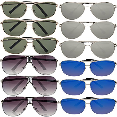Pacific SOL 12 Pairs Aviator Sunglasses Assorted 100% UV Protection for Mens Womens Classic - Sunglasses Cheap Stylish