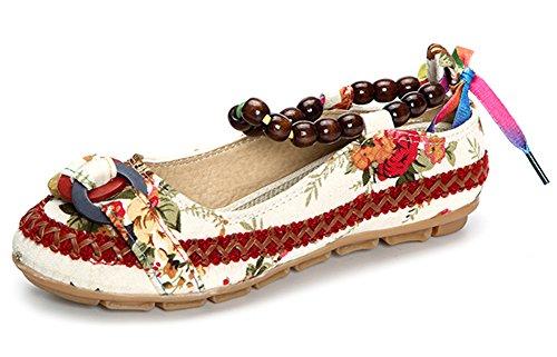 Minetom Chaussures Été Floral Mary Femme Toile Blanc Mocassins Janes Confortable Ballerines Broderie Automne Fleur Loafer araHq