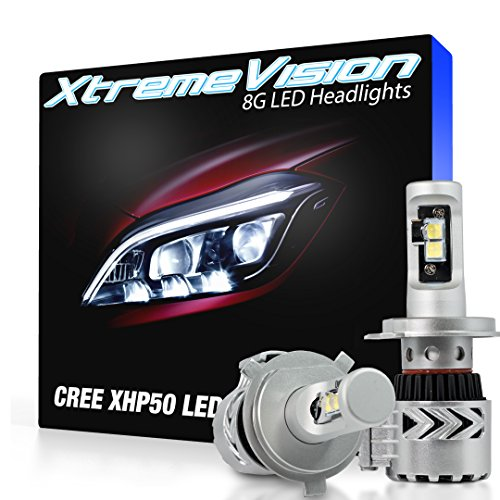 (XtremeVision 8G 72W 12,000LM LED Bulb - H4/9003 Dual Beam LED Headlight Kit - 6500K XHP50 CREE LED)