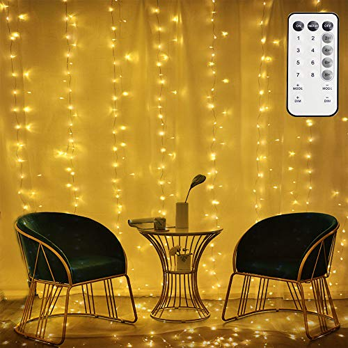 300 LEDs Low Voltage 6V String Curtain Lights, 9.8ft X 9.8ft Waterproof Outdoor Indoor Fairy Lights with 8 Modes for Decor, Wedding, Bedroom, Party Cafe, UL Listed,Warm White (6V)