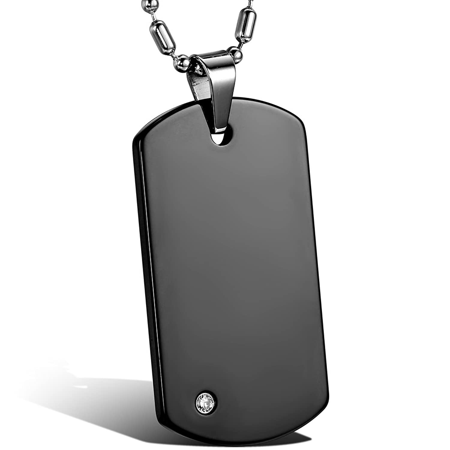 Jewelrywe polished engravable tungsten carbide mens dog tag pendant jewelrywe polished engravable tungsten carbide mens dog tag pendant necklace black 22 chain free customized engraving amazon jewellery aloadofball Choice Image