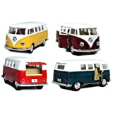 Set of 4: 5' Classic 1962 Volkswagen Van 1:32 Scale (Green/Maroon/Red/Yellow)