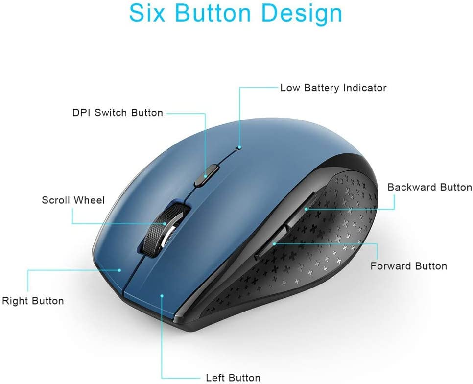 Gaming Mouse Optical Mobile Wireless Mouse Ergonomic Mouse 6 Button 2.4G Wireless Mouse Ergonomics Color : Black