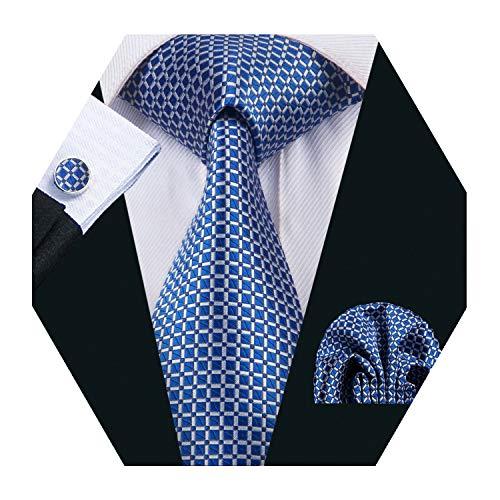 Silk Tie Royal Blue Plaid Pocket Square Cufflinks Set Men's Formal Necktie -