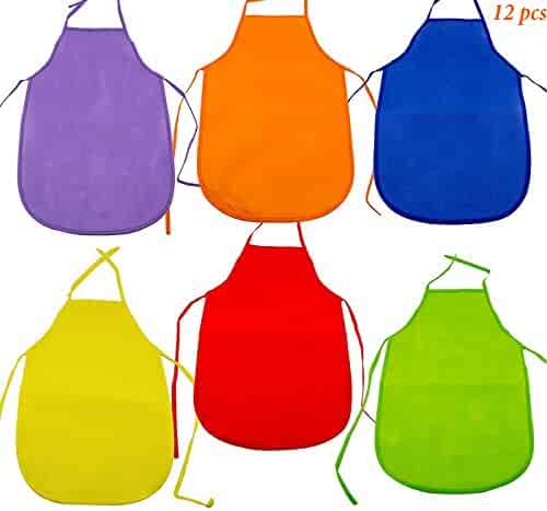 Adorox 12 Pack Assorted Children's Multicolored Aprons smock Art & Craft Painting Cooking Classroom set of 12