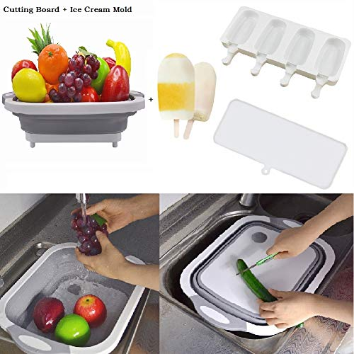 Prettywan Kitchen Chopping Blocks Tool Multifunctional Foldable Cutting Board Kitchen Silicone Cutting Boards Vegetable Fruit Washing Basket Watermelon Knife Ice cream mold (Ice Cream Board)