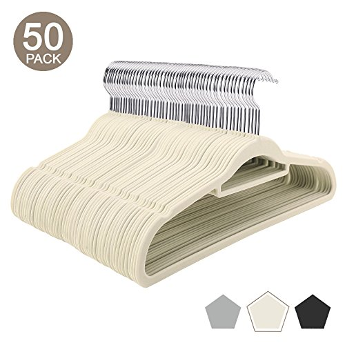VEEYOO Velvet Hangers 50 Pack- Non Slip Hangers with Accessory Bar - Heavy Duty, 360 Degree Swivel Hook & Space Saving Velvet Suit Clothes Hangers - Extra Strong to Hold Heavy Coat and Jacket - Ivory
