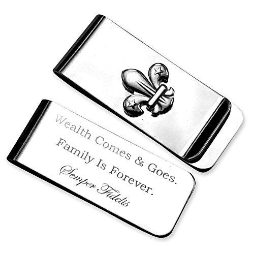 Silver Money Clip Wallet Semper Fi Engraveed Gift Wedding Birthday Groomsmen ()