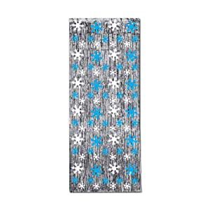 Snowflake 1-Ply FR Gleam 'N Curtain (silver w/prtd blue & white snowflakes) Party Accessory  (1 count) (1/Pkg)