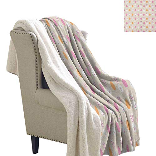 Suchashome Easter Sherpa Throw Cartoon Style Childish Pattern with Bunny Faces and Egg Silhouettes Light Thermal Blanket 60x32 Inch Pale Pink Orange and Beige ()
