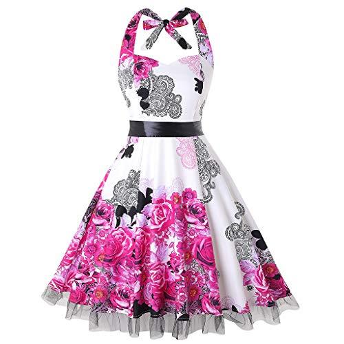 Women's Dress Vintage 1950s Retro Sleeveless Halter Print Evening Party Prom Swing Dress Romantic Casual Hot Pink]()