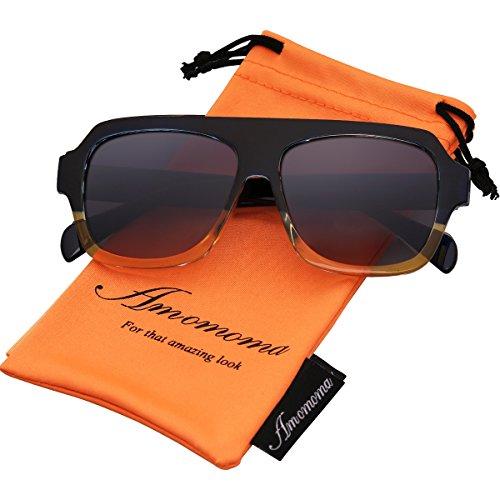 Amomoma Men's Women's Fashion Flat Top Square Sunglasses Retro Shades AM2004 Blue and Yellow Frame/Grey - Sunglasses Top Quality