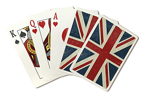 (Union Jack - Distressed Letterpress (Playing Card Deck - 52 Card Poker Size with Jokers) )