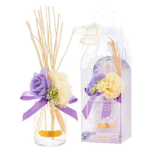 供給被る命令的サンハーブ ルームフレグランスフラワー ラベンダー 100ml(芳香剤 花かざり付 ふわっと爽やかなラベンダーの香り)