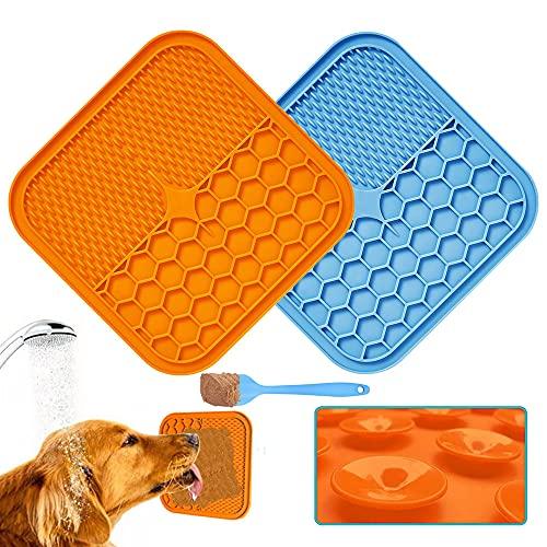 Huarumei Leckmatte Hund Schleckmatte, 2 Stück mit Silikonspate Hund Gross lenkmatte Hunde Zubehör Super Starke Saugkraft…