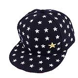 Unisex Kids Children Star Printed Embroidered Hip Hop Baseball Cap Fashion UV Protection Hat Adjustable Strapback Cap (Black)