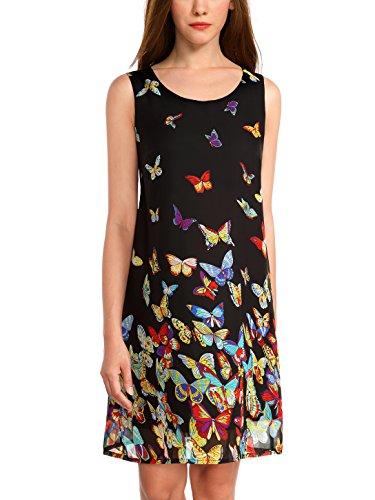 WAJAT Women's Loose Casual 2 Layers Sleeveless Floral Print Chiffon Tank Dress Butterfly - Print Butterfly Dress