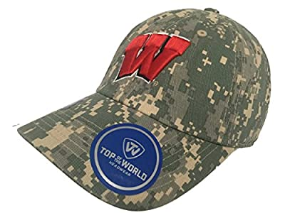 Top of the World Wisconsin Badgers TOW Digital Camouflage Flagship Adjustable Slouch Hat Cap by Top of the World