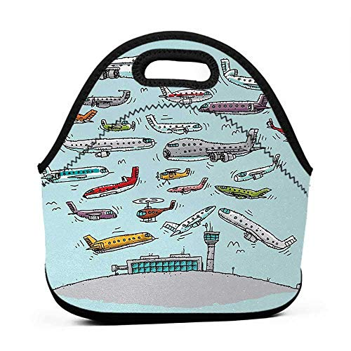 Tote Waterproof Outdoor Airplane,Planes Fying in Air Aviation Love Airport Helicopters and Jets Style Print,Multicolor,lunch bag for kids skip hop ()