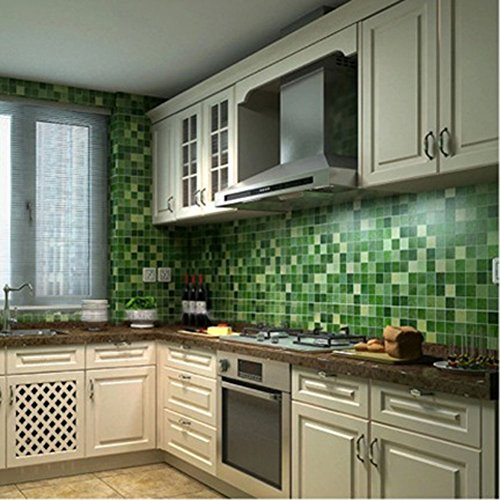 Chinatera Peel and Stick Tile Kitchen Backsplash Sticker Aluminum Foil Mural Mosaic Wall Paper Waterproof Removable High Temperature Resistant Self-adhesive, 18