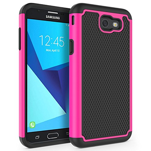 Case for Samsung Galaxy J7 V 2017 (1st Gen)/ Galaxy J7 2017 / Galaxy J7 Prime/Galaxy J7 Perx/Galaxy J7 Sky Pro/Galaxy Halo, SYONER [Shockproof] Defender Phone Case Cover [Hot Pink]