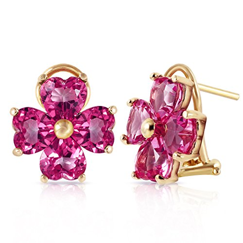 7.6 Carat 14K Solid Gold French Clips Earrings Natural Pink Topaz