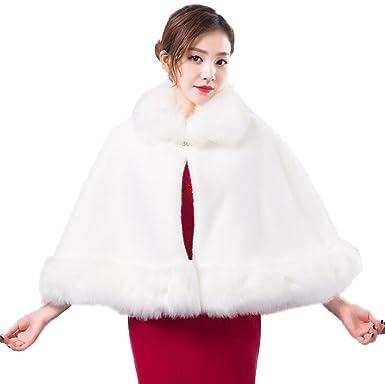 JSHFD Novia de la boda mantón de la boda abrigo de capa blanca noche de servicio
