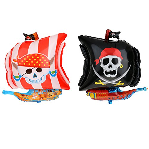 MonkeyJack 2pcs /Set Large Foil Mylar Balloons Pirate Balloon Party Baby Shower Decor -