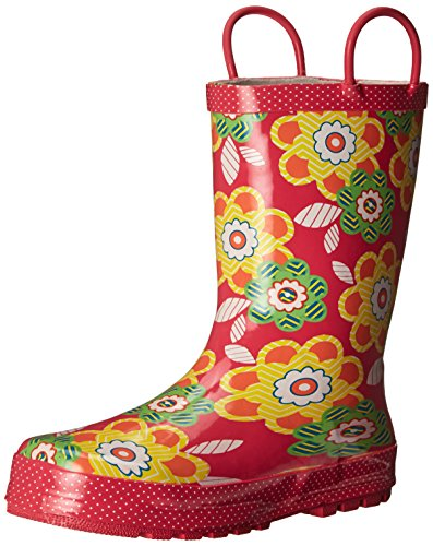 Western Chief Girls Printed Rain Boot, Zig Zag Floral, 9 M US Toddler