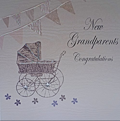 - white cotton cards New Grandparents Congratulations Handmade Baby Card, White by WHITE COTTON CARDS