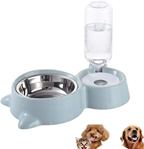 HappyCat Small Pets Water and Food Bowl Set, Dogs Cats Feeder Bowl and Automatic Water Dispenser Double Pet Bowls with Automatic Waterer Bottle for Small or Medium Size Dogs Cats (Blue)