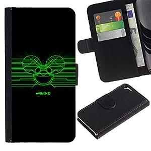 JackGot ( Green Deadmaus ) Apple Iphone 5 / 5S la tarjeta de Crédito Slots PU Funda de cuero Monedero caso cubierta de piel