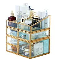 PENGKE X Large Gold Makeup Organizer,Clear Jewelry and Cosmetic Storage Case,Large Capacity for Beauty Product Organizer,5 Drawer Keep Your Vanity Organized,10.5 x8.1 x10.9 inch