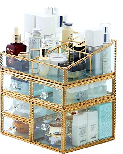 - PENGKE X-Large Gold Makeup Organizer,Clear Jewelry and Cosmetic Storage Case,Large Capacity for Beauty Product Organizer,5 Drawer Keep Your Vanity Organized,10.5