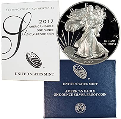 With Box//COA IN STOCK 2017 PROOF American Silver Eagle Dollar