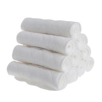 unke 10pcs Bebé reutilizable absorbente paño de algodón Pañales Insertar 3 capa – Protectores para pañal