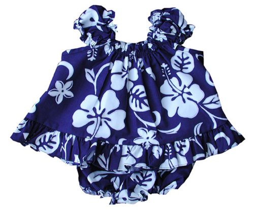 Dress Royal Hawaiian (RJC Baby Girls Classic Hibiscus Puff Sleeve 2pc Set Royal Blue 18 months)