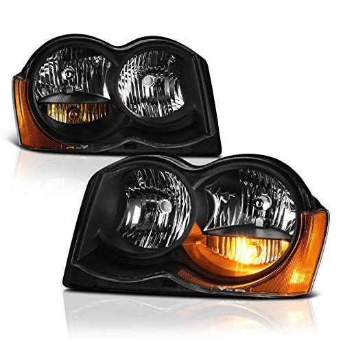 VIPMOTOZ Black Housing OE-Style Headlight Headlamp Assembly For 2008-2010 Jeep Grand Cherokee Halogen Model, Driver & Passenger Side